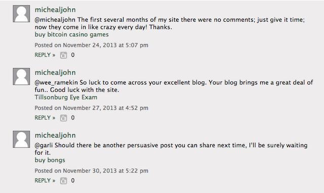 Пример спама в комментариях блога.
