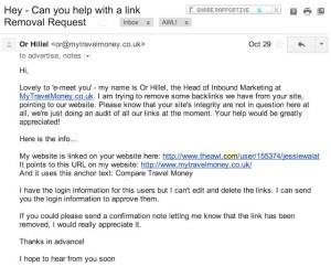 Пример письма от спамеров на удаление ссылок.